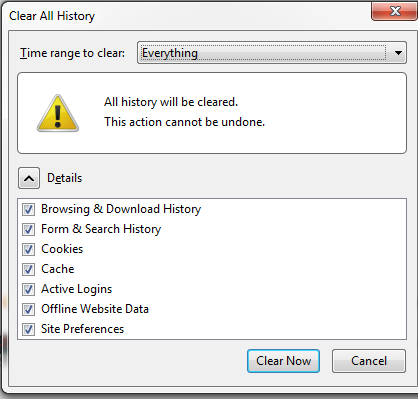 clear cookies cache history on firefox