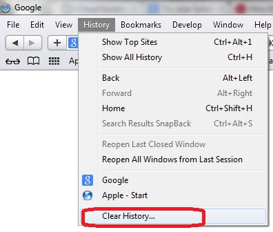 safari browser clear history