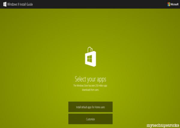 Windows 9 default apps
