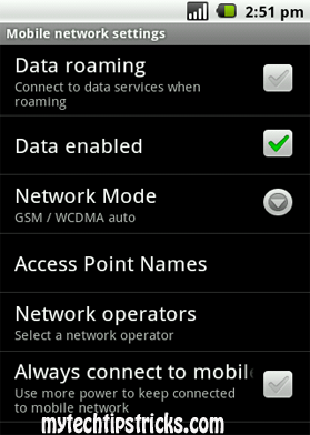 android network settings