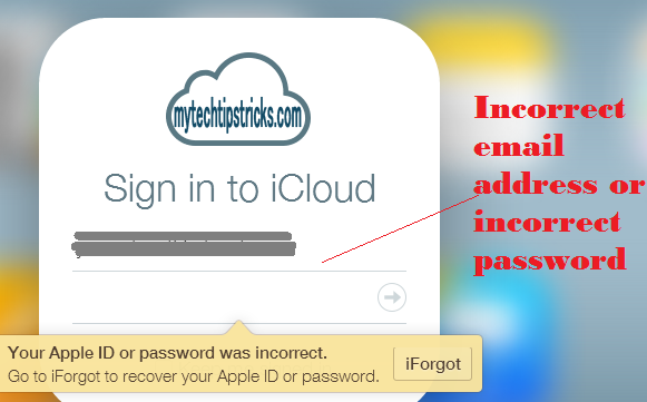 icloud mail and password incorrect