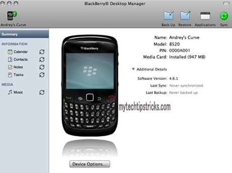 sync blackberry to icloud